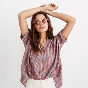 madewell courier button-back striped shirt